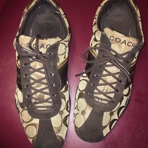 Coach Brown Signature Laced Sneaker Shoes Size8 !